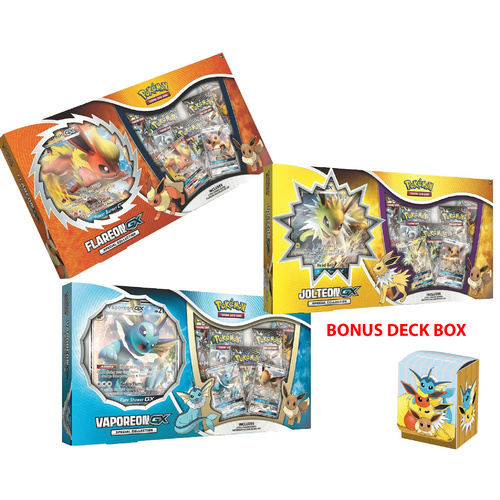 Jolteon GX, Flareon GX, and Vaporeon GX box SET - PREORDER