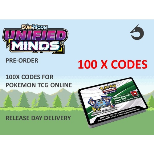 100x  Sun & Moon Unified Minds (SM11) Online Booster Codes for PTCGO