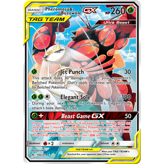 Pokemon Unbroken Bonds 192/214 Pheromosa & Buzzwole  FULL ART Tag Team GX